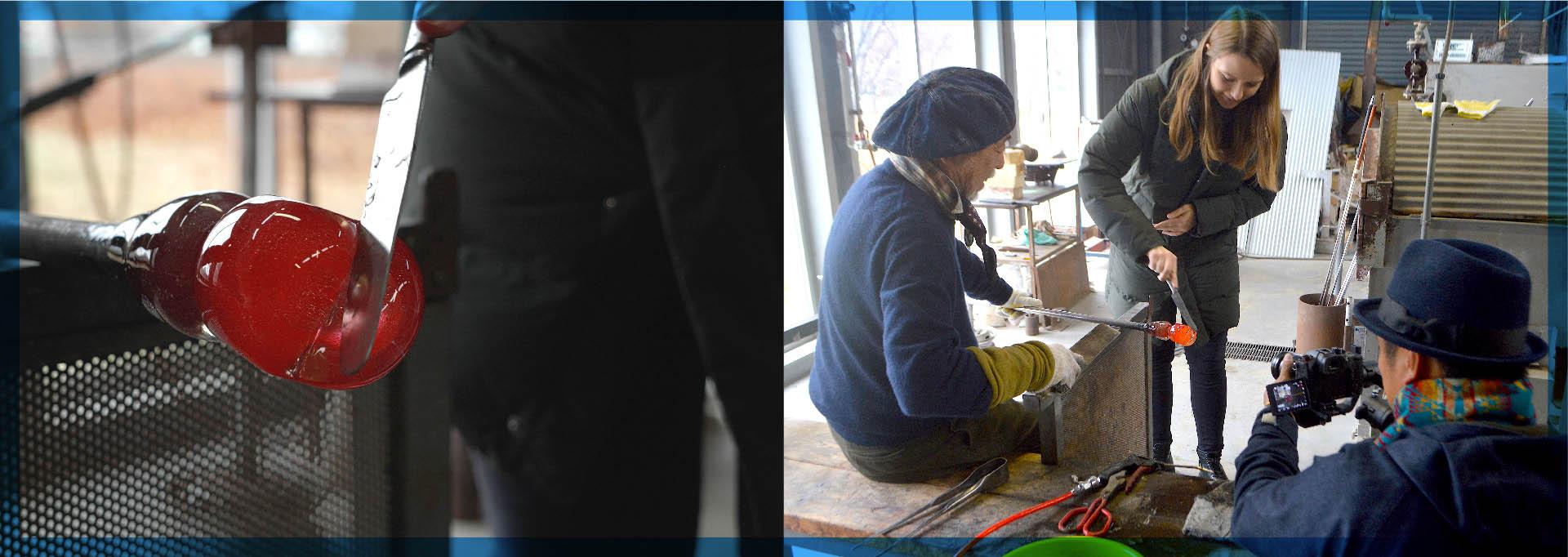 ガラスアート製作の体験をしてくれたのは「Ryan Bartholomew」さん(男性)と「Mary Mae」さん(女性)。チャレンジしたのはグラスアップルという作品名のりんごとハートのオブジェです。